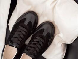Кеды кожаные с замшей черные (черная подошва) Mark на кожаной подкладке
