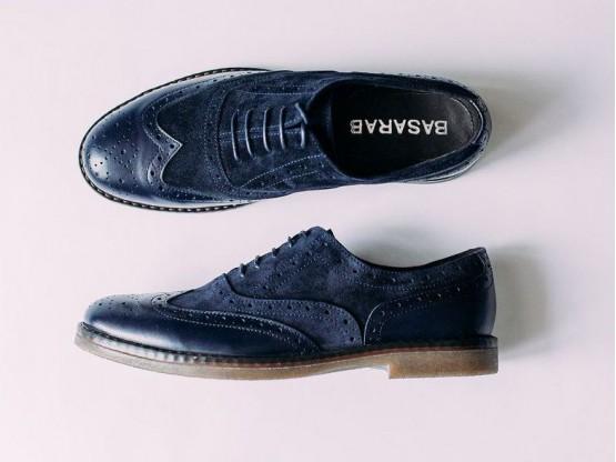 Туфли замшевые синие (кожа/замша)  на кожаной подкладке