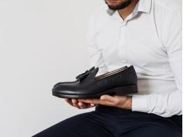 Туфли кожаные синие на кожаной подкладке