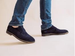 Туфли замшевые синие на кожаной подкладке
