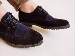 Туфли замшевые комбинированные черные с синим Alan на кожаной подкладке