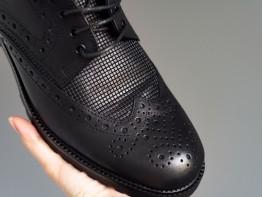 Туфли кожаные черные (клетка) Alan на кожаной подкладке