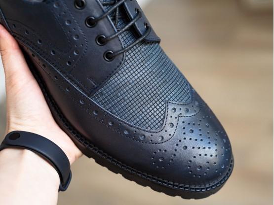 Туфли кожаные синие Alan