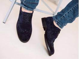 Туфли замшевые синие Alan на кожаной подкладке