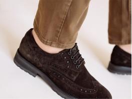 Туфли замшевые коричневые Alan на кожаной подкладке