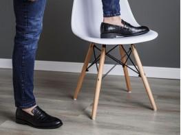 Туфли кожаные черные (рептилия) на кожаной подкладке