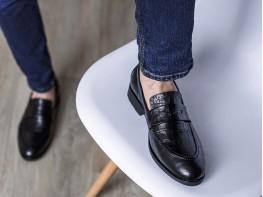 Туфли кожаные черные (рептилия)