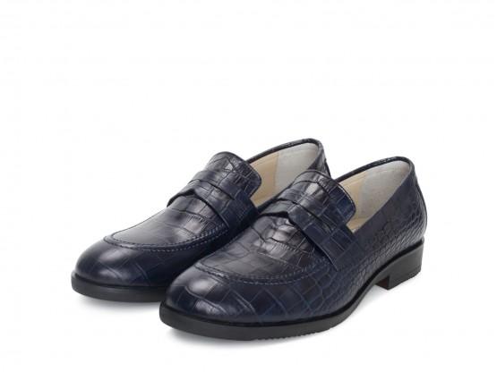 Туфли кожаные синие (рептилия) Т-280