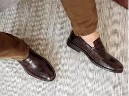 Туфли кожаные коричневые (рептилия)