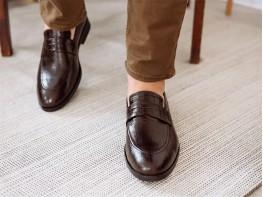 Туфли кожаные коричневые (рептилия) на кожаной подкладке