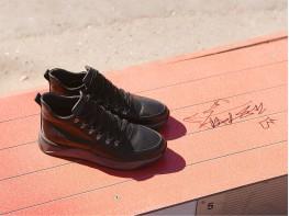 Ботинки кожаные черные на байке