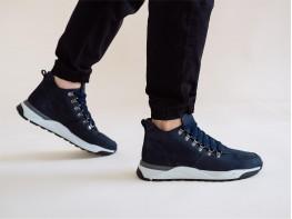 Ботинки нубук синие на байке