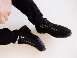 Ботинки нубук черные на байке