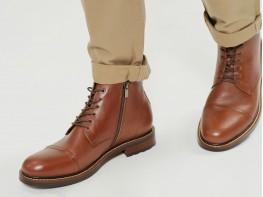 Ботинки кожаные коричневые Street на байке