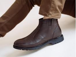 Ботинки кожаные коричневые на байке