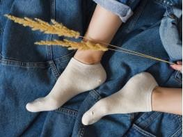 Носки низкие хлопковые бежевые