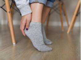 Носки низкие хлопковые серый меланж