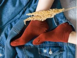 Носки низкие хлопковые терракотовые