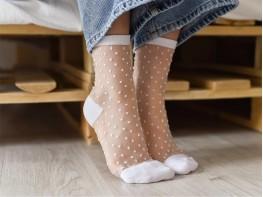 Прозрачные носки с дизайном белые