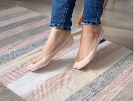 Носки невидимые нейлоновые розовые с хлопковой подошвой
