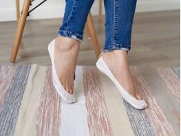Носки невидимые нейлоновые белые с хлопковой подошвой