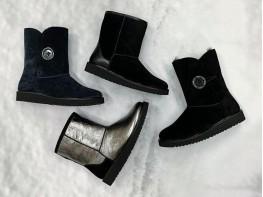 Сапоги кожаные серебряные (черная подошва)