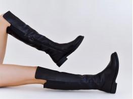 Сапоги кожаные черные на байке