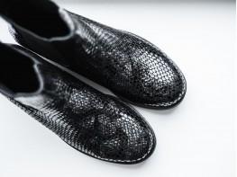 Ботинки кожаные демисезонные серые (змея) Freedom на байке