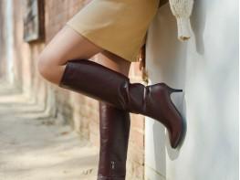 Сапоги кожаные бордовые на байке