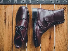 Ботинки кожаные бордовые World на меху