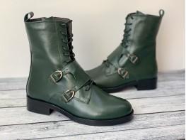 Ботинки кожаные зелёные World на байке