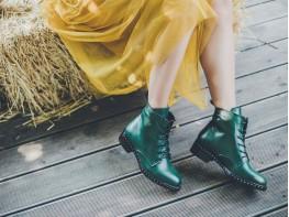 Ботинки кожаные зеленые Mirror на байке