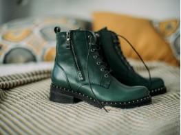 Ботинки кожаные зеленые на меху