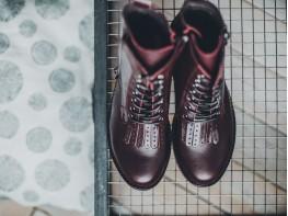 Ботинки кожаные бордовые на меху