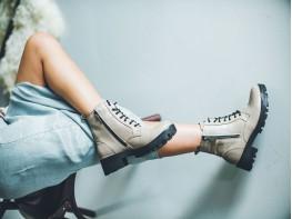 Ботинки кожаные бежевые на байке