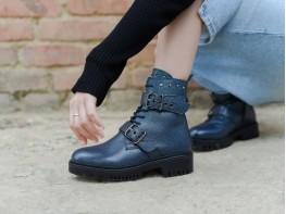 Ботинки кожаные синие Sophie на меху