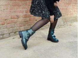 Ботинки кожаные зеленые Sophie на байке