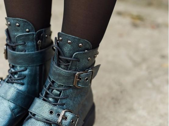 Ботинки кожаные зеленые Sophie на меху