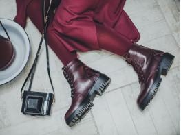 Ботинки кожаные бордовые Super trendy на меху