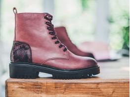 Ботинки нубук бордовые (марсала) Super trendy на меху