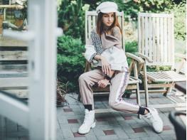 Ботинки кожаные белые (рептилия) Super trendy на байке