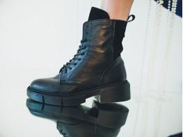 Ботинки кожаные (с замшей) черные на меху