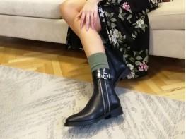Ботинки кожаные черные Speedy на меху