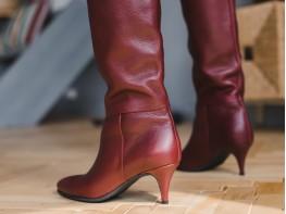 Сапоги кожаные бордовые Milano на меху