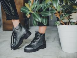 Ботинки кожаные серые Frozen на байке