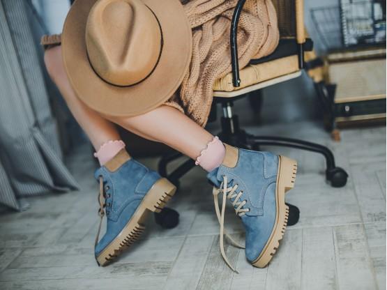 Ботинки нубук синие (джинс) Frozen на меху
