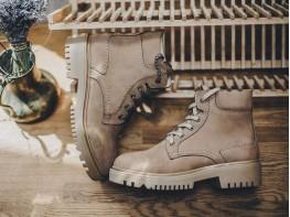 Ботинки нубук коричневые (бежевые) Frozen на байке