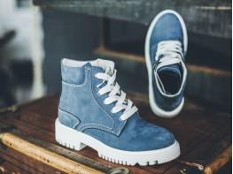 Ботинки нубук голубые Frozen на байке
