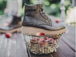 Ботинки кожаные коричневые (бронза) Frozen на байке