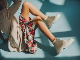 Ботинки кожаные бежевые (кремовые) Frozen на байке
